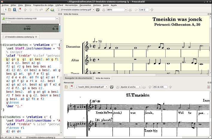 Frescobaldi – editor pro zpracování not